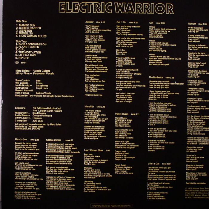 T Rex Electric Warrior Back To Black Vinyl Record